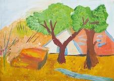 有长凳的秋天公园 水彩和树胶水彩画颜料绘画 库存照片