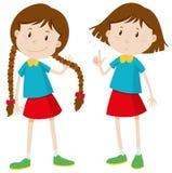 有长和短发的小女孩 皇族释放例证