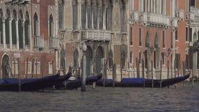 有长平底船和历史建筑的威尼斯大运河 股票视频