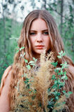 有长期的令人敬畏,优秀,美丽,好女孩,平直,轻的头发 免版税库存图片