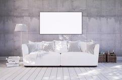 有长沙发的客厅和在墙壁上的空的框架 库存照片