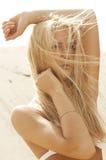 有长的健康吹的头发的秀丽白肤金发的女孩 头发引伸 免版税库存照片
