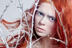 有长的头发、用雪盖的面孔与霜白色眼眉和睫毛的红头发人女孩在霜,报道的树枝 图库摄影