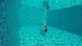 有长的头发的妇女潜水入水池 股票视频