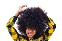 有长的头发的年轻人作为繁忙的概念 免版税库存图片