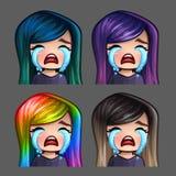有长的头发的情感象哭泣的女性社会网络和贴纸的 免版税库存照片