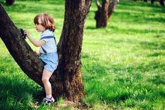有长的头发的逗人喜爱的小孩儿童男孩在使用与在步行的玩具汽车的时髦的成套装备在夏天 免版税库存照片