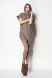 有长的性感的腿的美丽的妇女穿戴了典雅摆在Th 库存图片