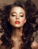 有长的有风布朗头发和饱和的构成的性感的妇女 免版税库存照片