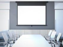 有长的桌的会议室 3d翻译 免版税库存图片