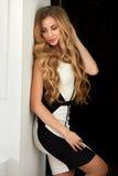 有长的波浪发的美丽的金发碧眼的女人 免版税库存照片