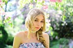 有长的红色吹的头发的春天美景女孩户外 开花的佐仓结构树 浪漫少妇纵向 库存图片