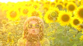有长的红色头发立场的秀丽女孩在黄色向日葵领域ang吹的金子闪烁 愉快的户外妇女 青少年 股票录像