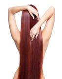 有长的红色头发的裸体妇女 库存照片