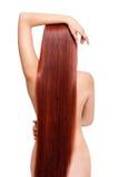 有长的红色头发的裸体妇女 免版税图库摄影