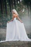 有长的美丽的性感的白肤金发的白色裙子 库存照片