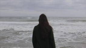 有长的黑发的一个美丽的女孩在一件羊毛深绿外套穿戴了享受看法的后面半身体观点的 股票录像