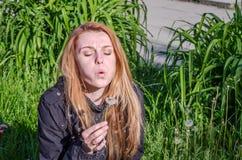 有长的头发欧洲人的年轻迷人的美丽的女孩在有草和花的一个草甸,被采花蒲公英和吹 免版税库存图片