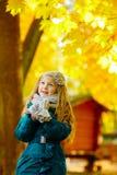有长的头发的美丽的六岁的白肤金发的女孩快乐查寻 免版税图库摄影