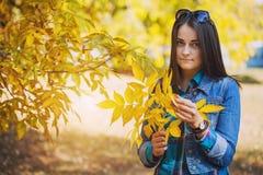 有长的黑发的美丽的女孩在秋天公园 免版税库存照片