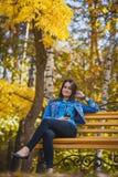 有长的黑发的美丽的女孩在秋天公园 图库摄影