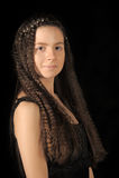 有长的头发的青少年的女孩浅黑肤色的男人 免版税库存图片
