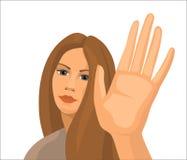 有长的头发的,传染媒介例证女孩 免版税库存图片