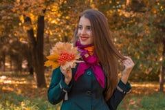 有长的头发神色的年轻逗人喜爱的女孩往在他的手保留从花揪的叶子并且微笑 库存照片