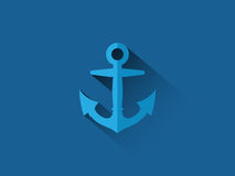 有长的阴影平的设计的蓝色船锚在蓝色背景 免版税库存照片