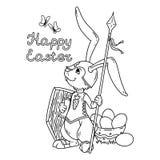 有长矛和盾的复活节兔子骑士 皇族释放例证