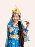有长笛的印第安小女孩 库存照片