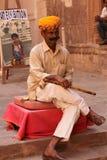 有长笛的拉贾斯坦印度人 图库摄影