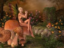 有长笛的Elven美丽的妇女 图库摄影