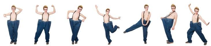 有长裤的滑稽的人在白色 免版税库存照片