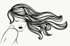 有长,波浪发、闭合的眼睛和典雅的构成的美丽的妇女 发廊传染媒介象 皇族释放例证
