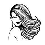有长,波浪发、闭合的眼睛和自然构成的美丽的妇女 皇族释放例证