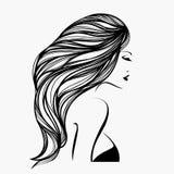 有长,波浪发和典雅的构成的美丽的妇女,穿一件性感的女衬衫 头发和美容院传染媒介例证 向量例证