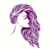 有长,波浪发和典雅的构成的美丽的妇女 库存例证