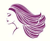 有长,波浪发和发光的构成的美丽的妇女 库存例证