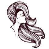 有长,波浪发和大胆的构成的美丽的妇女,佩带头饰带 头发和美容院传染媒介例证 向量例证