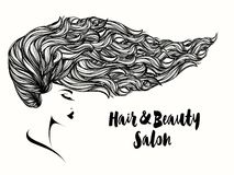 有长,波浪发和大胆的构成的美丽的妇女 库存例证