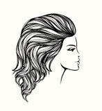 有长,波浪发和自然构成的美丽的妇女 库存例证