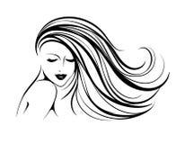 有长,波浪发的美丽的微笑的妇女 构成和发廊传染媒介例证 向量例证