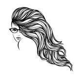 有长,波浪发的,佩带的镜片美丽的妇女 样式和秀丽传染媒介例证 向量例证