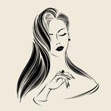 有长,直发、典雅的构成和修指甲的美丽的妇女,戴着圆环 头发和美容院传染媒介例证 向量例证