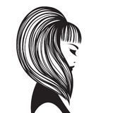 有长,直发、闭合的眼睛和大胆的构成的美丽的妇女 皇族释放例证