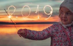 有闪烁发光物的新年2019年和美女在日落的湖 库存图片
