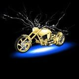 有闪电的摩托车 库存图片