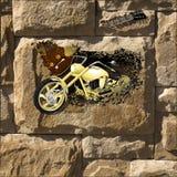 有闪电的摩托车 库存照片