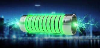 有闪电3D翻译的绿色电池 库存图片